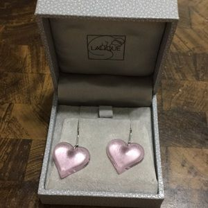 Lalique Crystal Pink Glass Heart Earrings